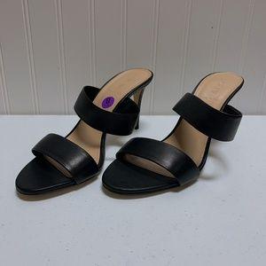 J. Crew Black Leather Sandal Heel Shoe Size 8
